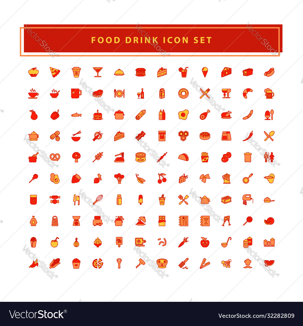 Food and drink icons set with filled outline
