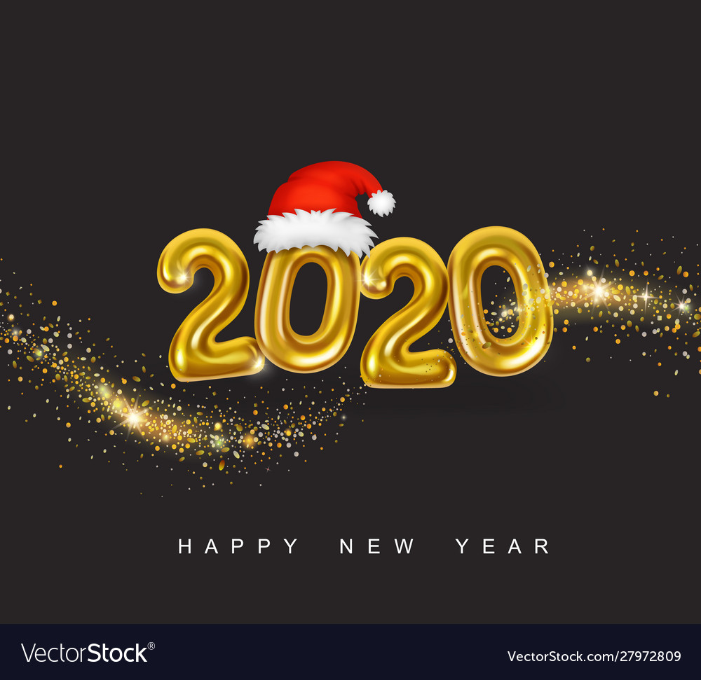Gold metallic numbers 2020 happy new year
