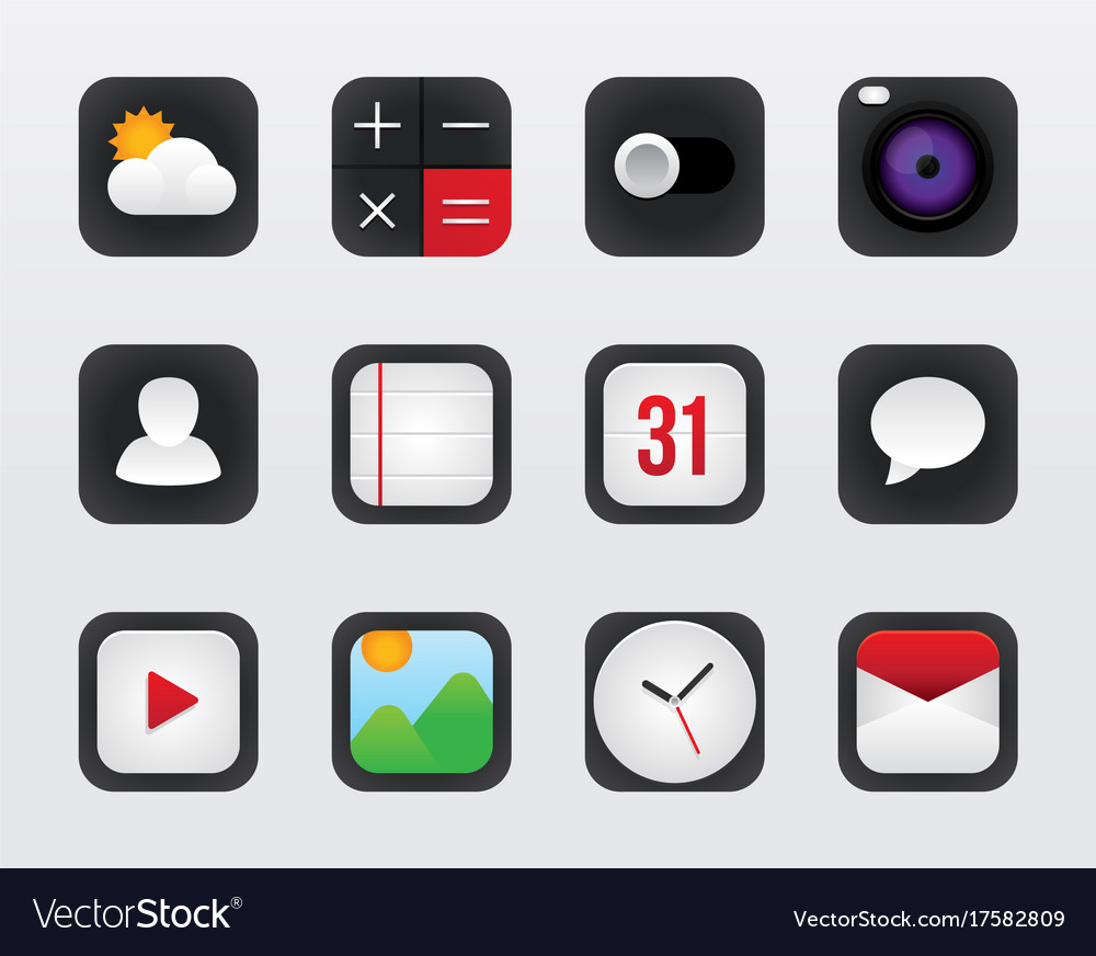 Icon set for mobile interface on white vector image