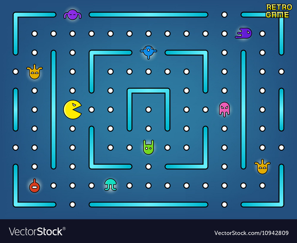 Pacman like video arcade game with ghosts