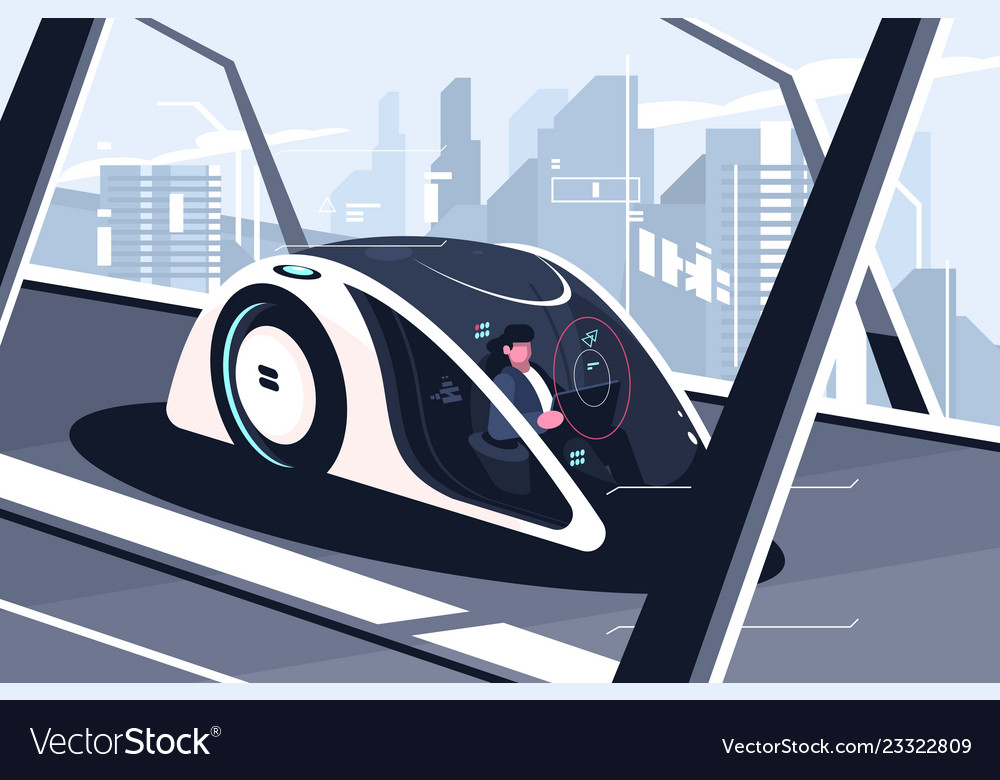Relaxed man driving by smart car