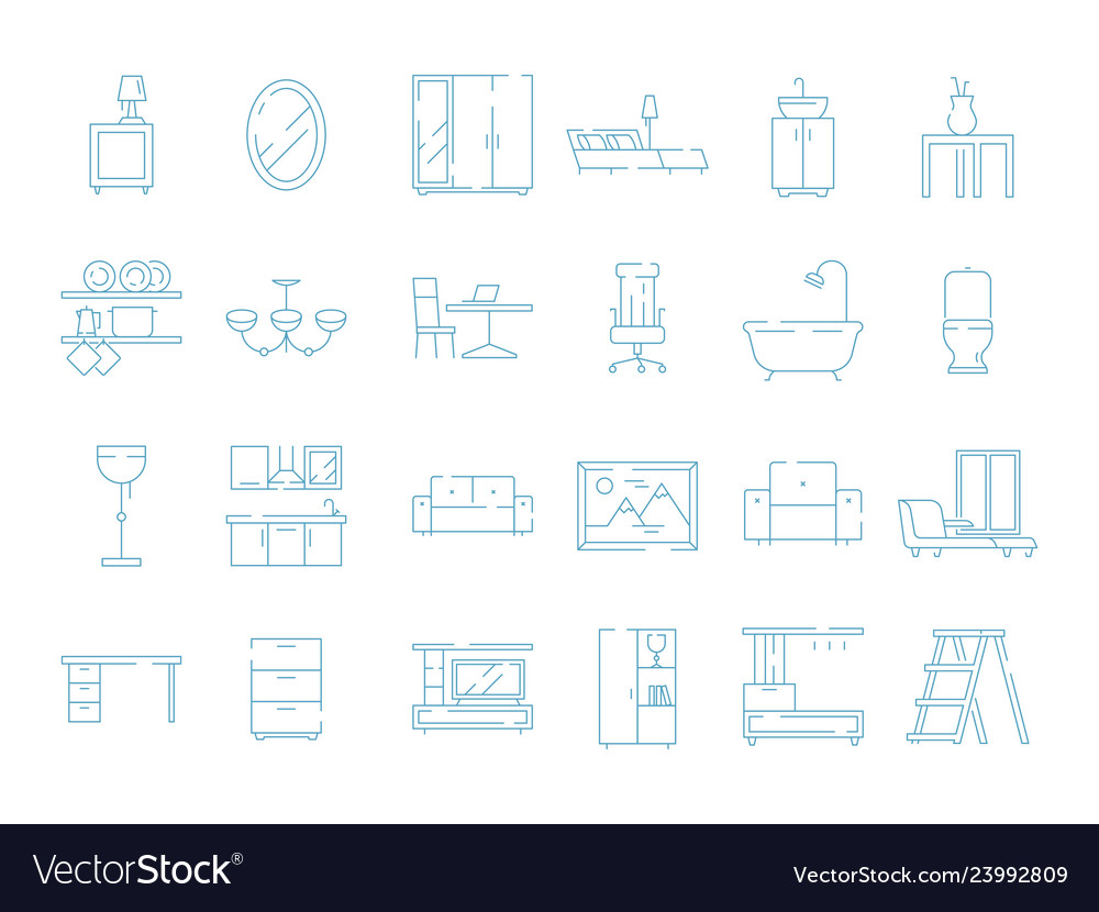 Room furniture icon bed table desk chair sofa vector