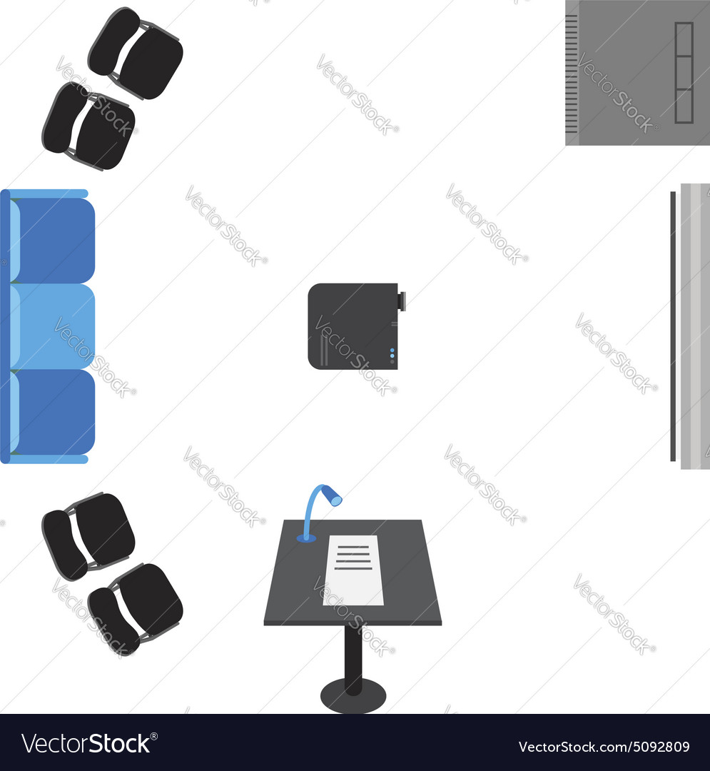 Set Of Icons For Presentation Top View Sofa Vector Image