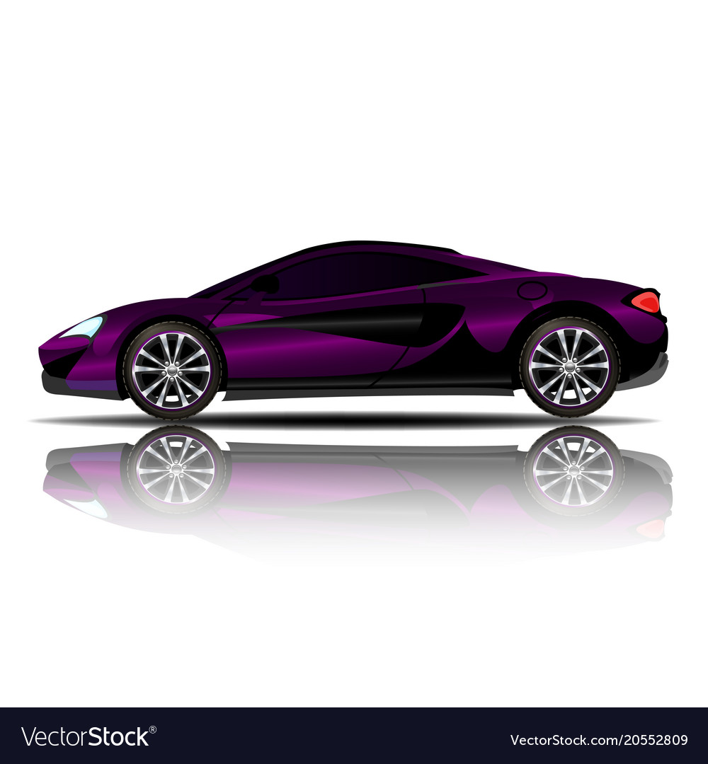 Sport car purple color white background ima