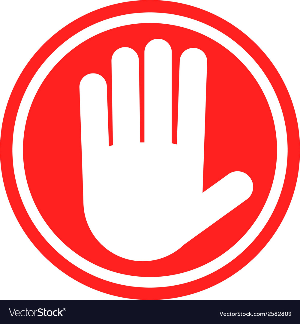 stop sign with human hand warning sign hazardous vector image rh vectorstock com free vector stop sign download free vector stop sign download