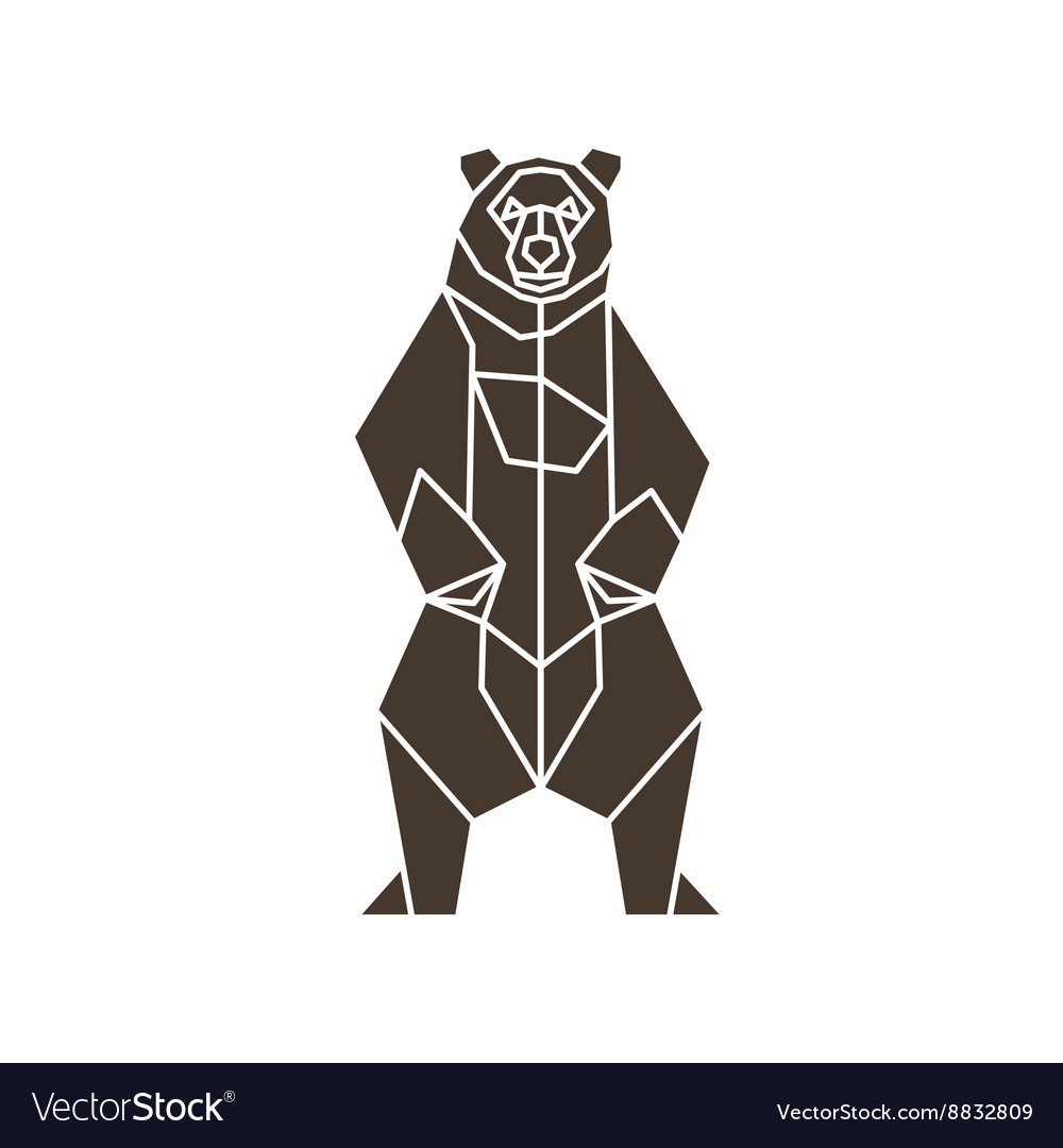The contour lines of polygons low poly bear vector image