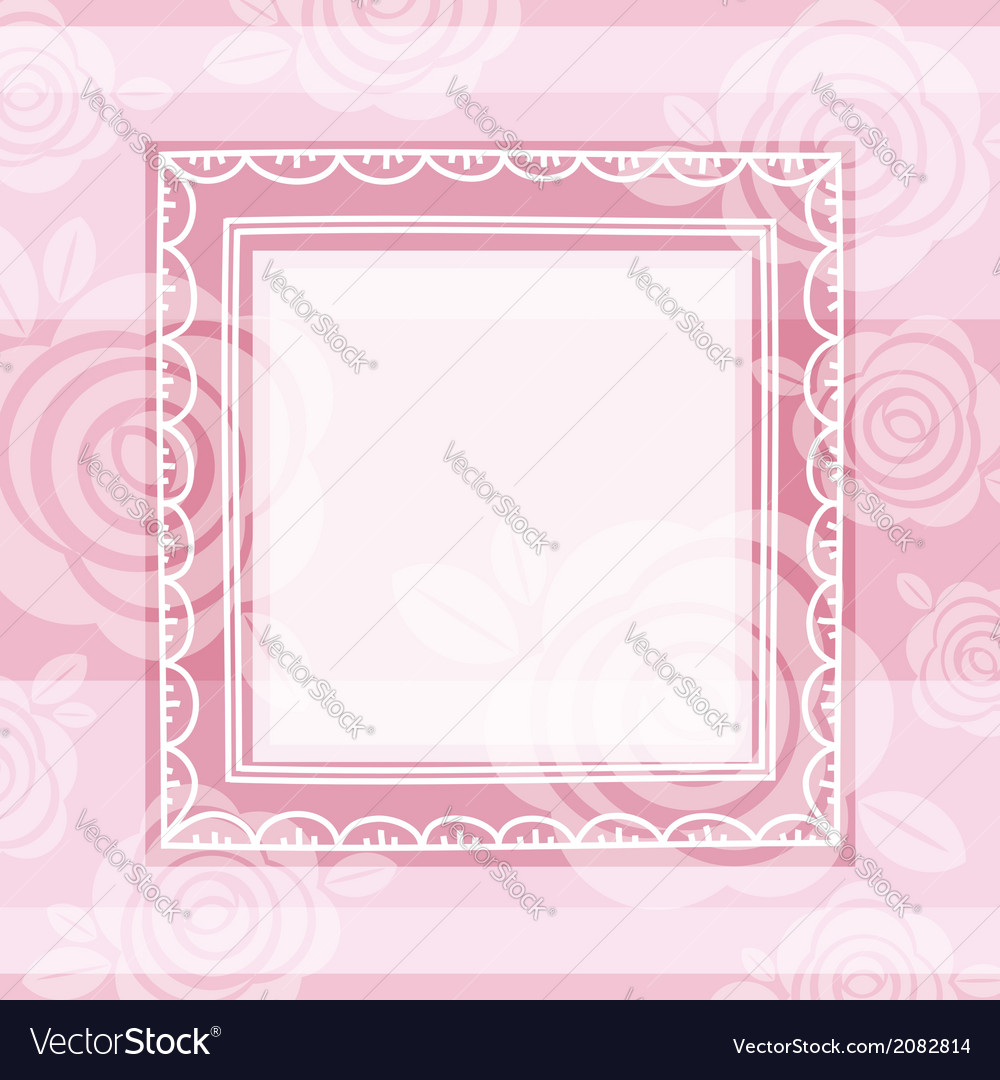 Background of roses and square frame vector image