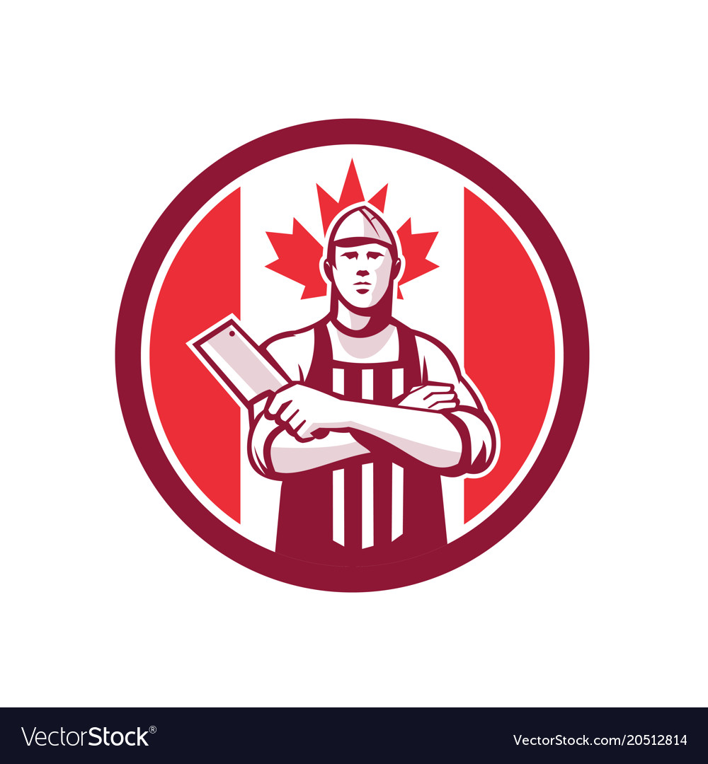 Canadian butcher front canada flag icon vector image
