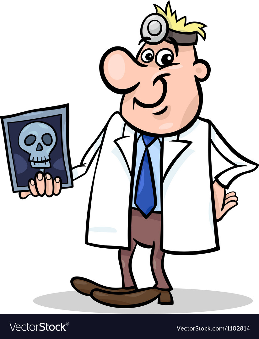 Cartoon doctor with xray