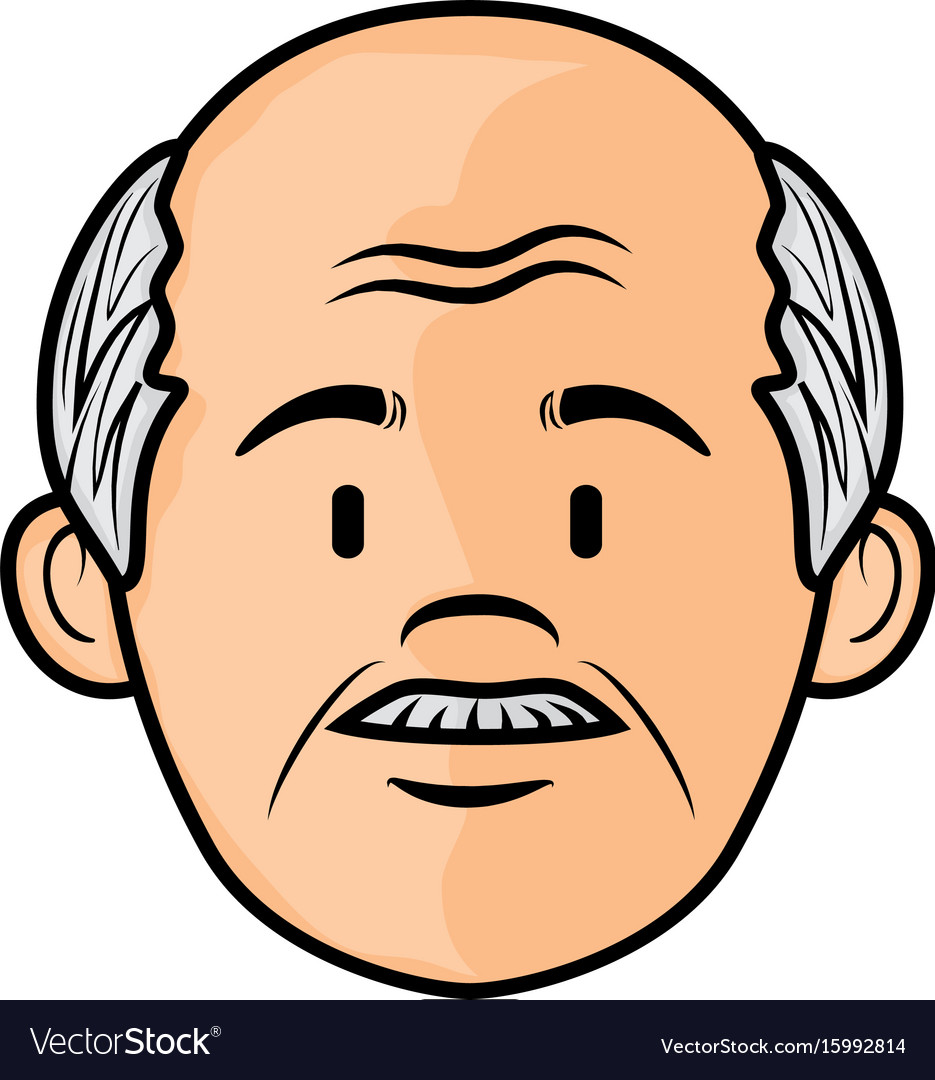 Cartoon old man icon