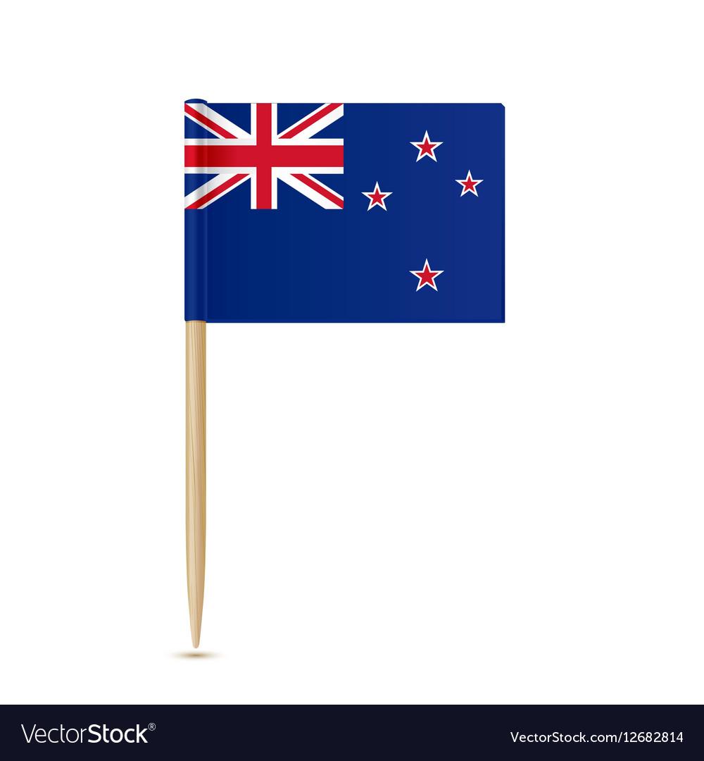 Flag of New Zealand toothpick on white background
