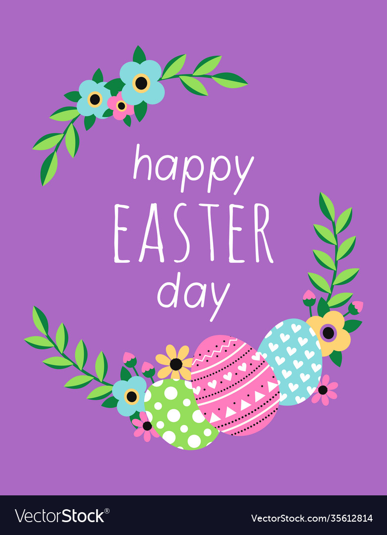 Happy easter day card with flowers and eggs