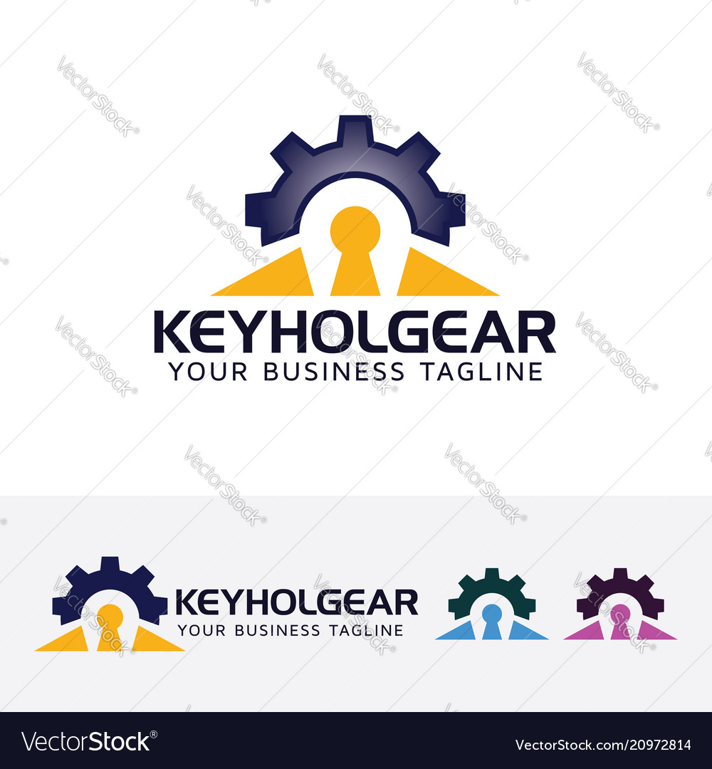 Keyhole gear logo design vector