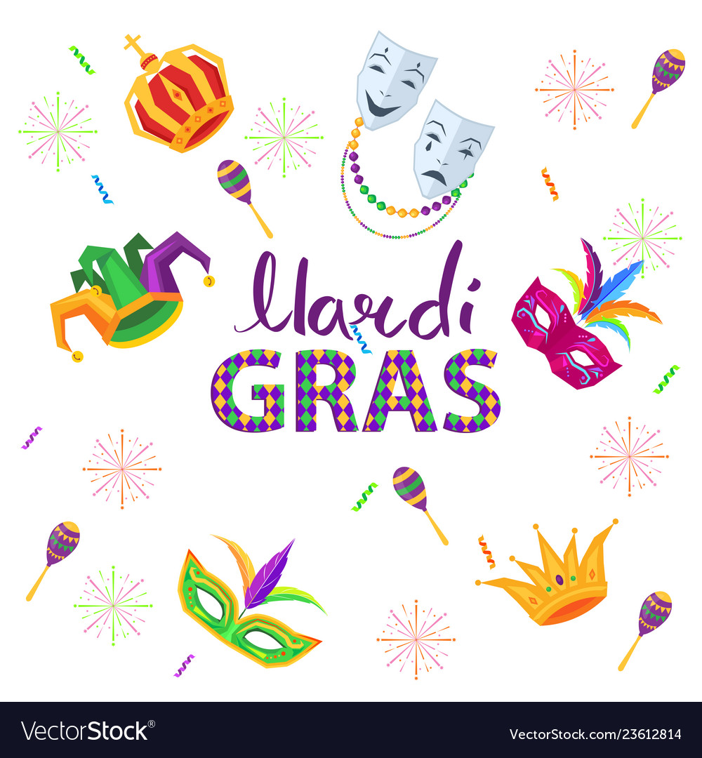 Magri gras carnival flat concept with masks