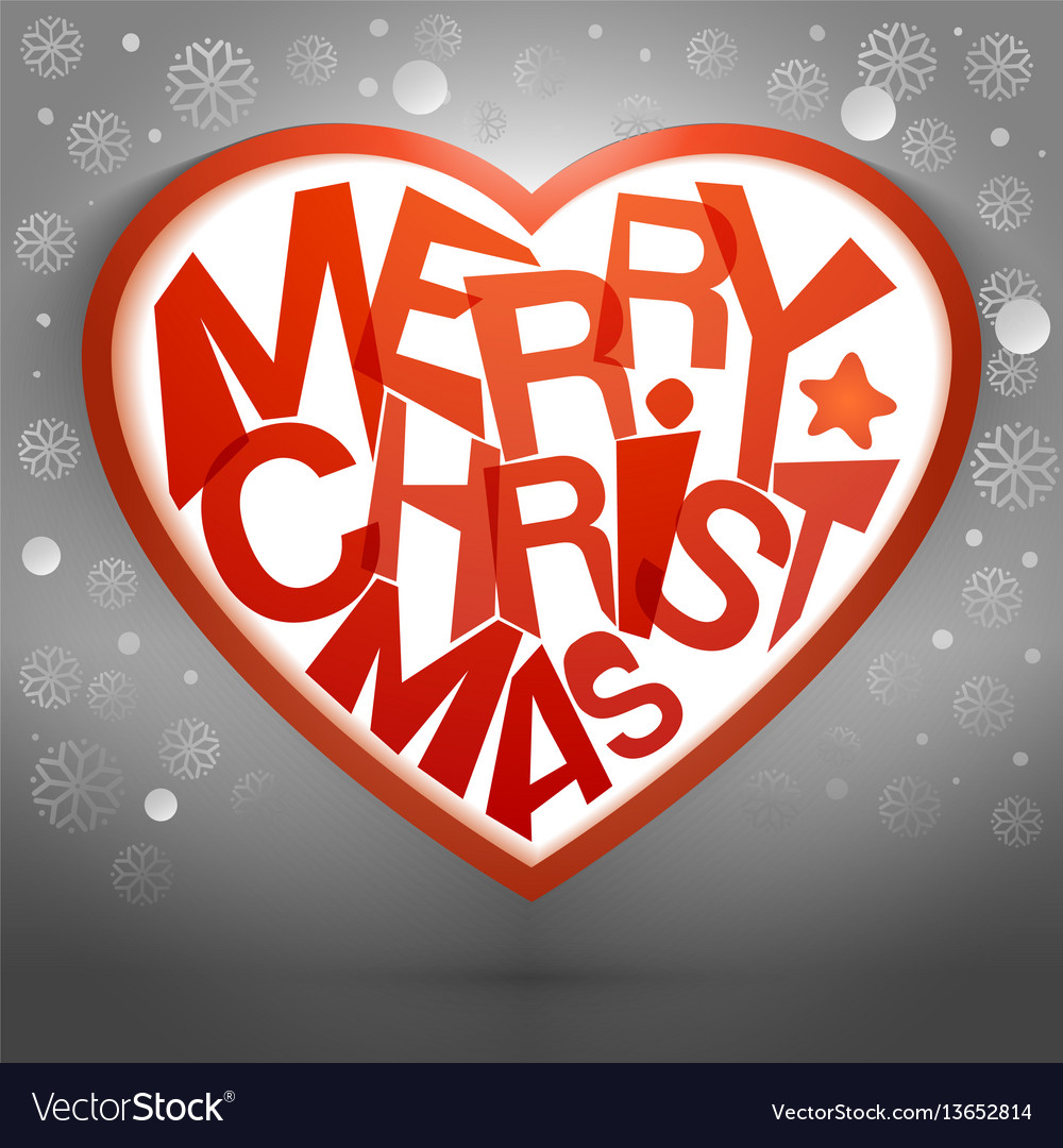 Merry christmas heart message with snow Royalty Free Vector