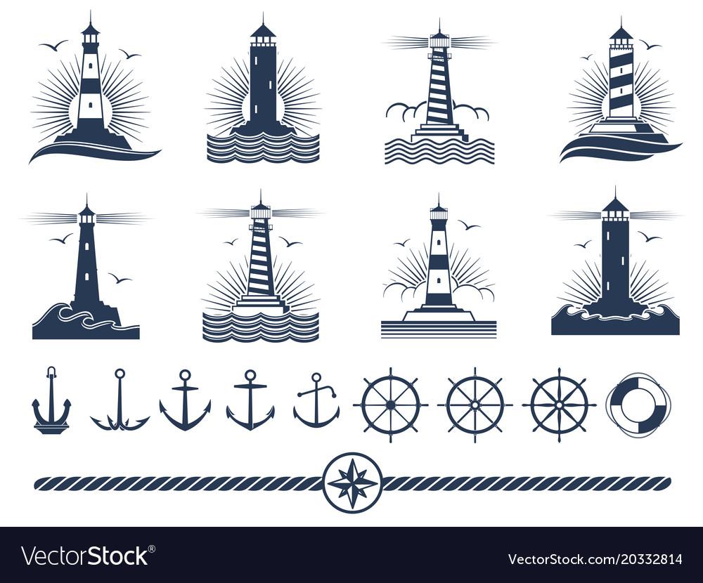 Nautical logos and elements set - anchors