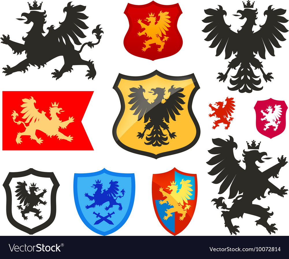 Shield with griffin gryphon eagle logo