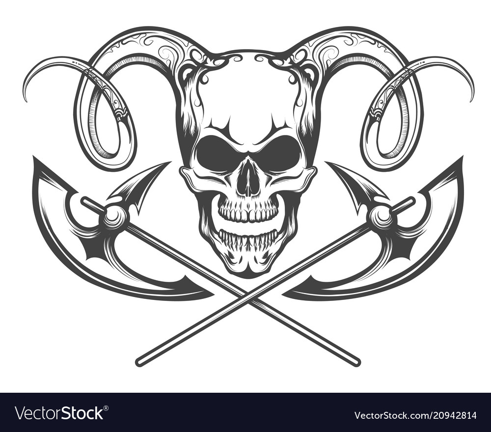 Skull with ram horns and axes
