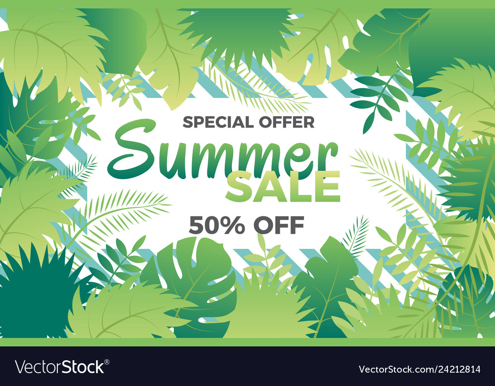 Summer sale banner with leafs
