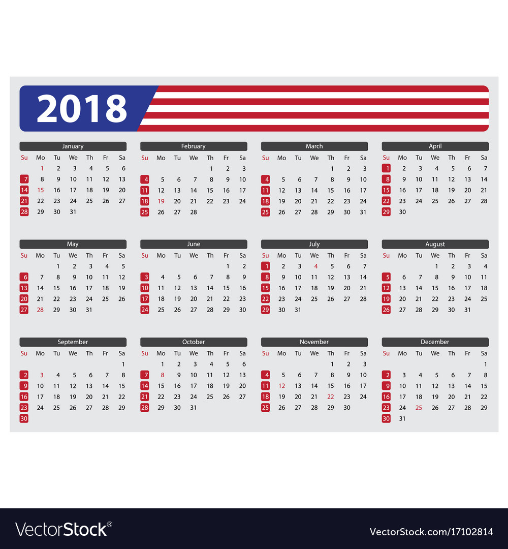 Usa Calendar 2018 Official Holidays Royalty Free Vector
