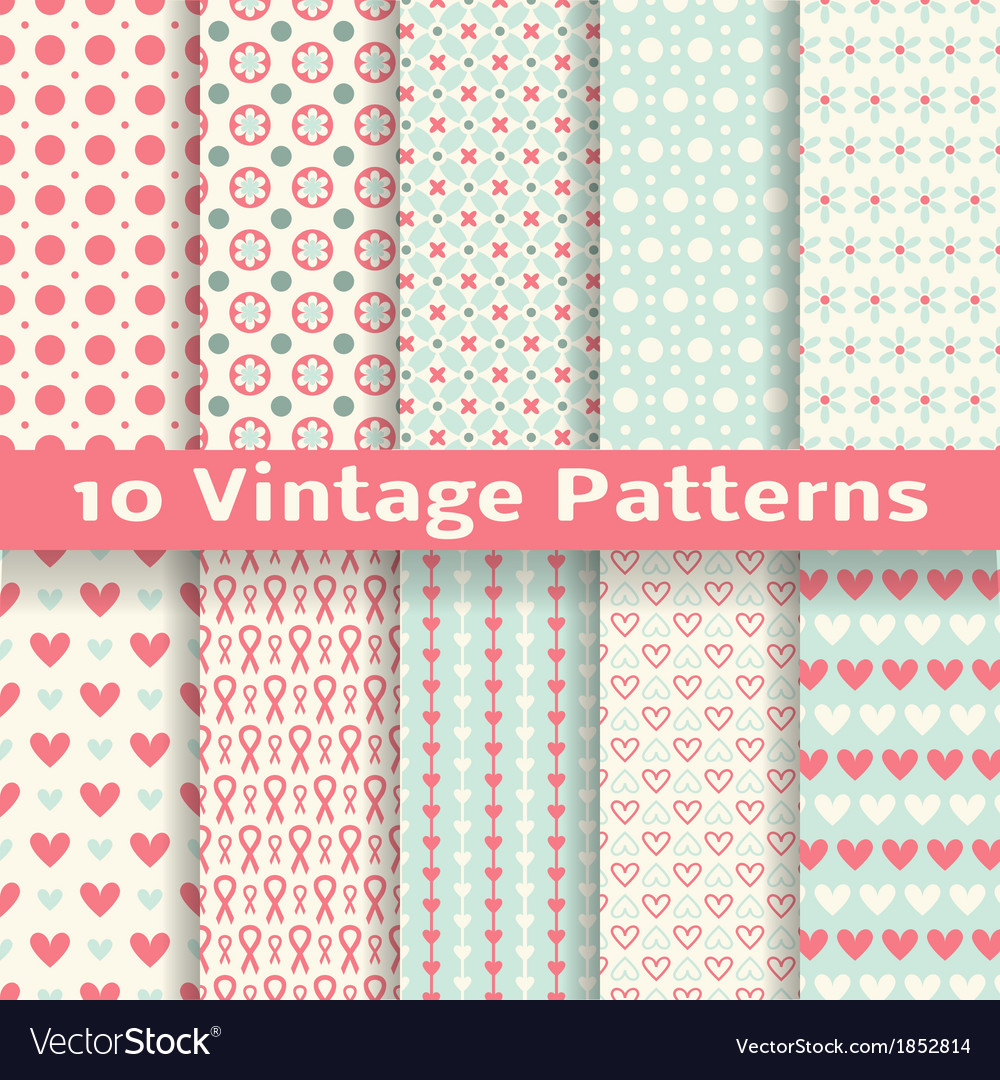 Vintage fashionable seamless patterns tiling