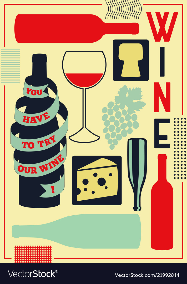 Vintage style wine elements poster