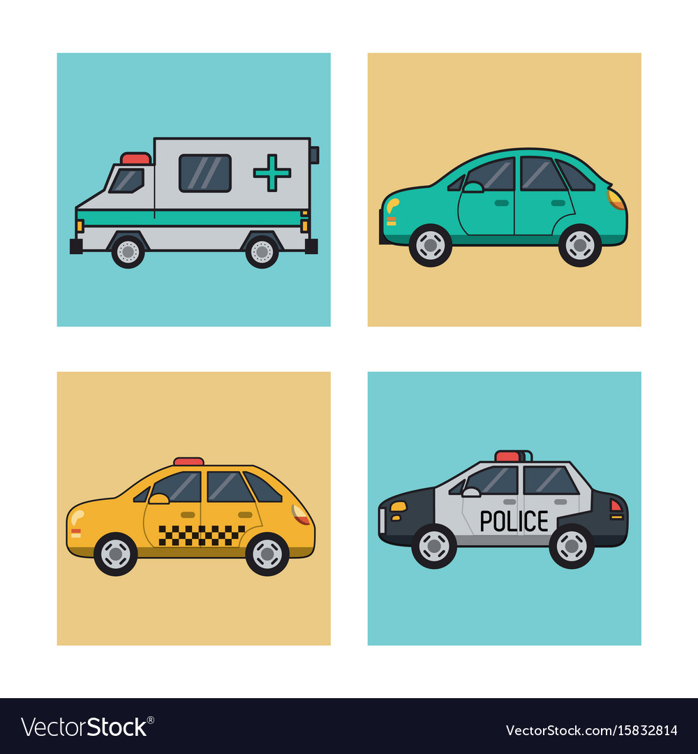 White background with square set of vehicles of