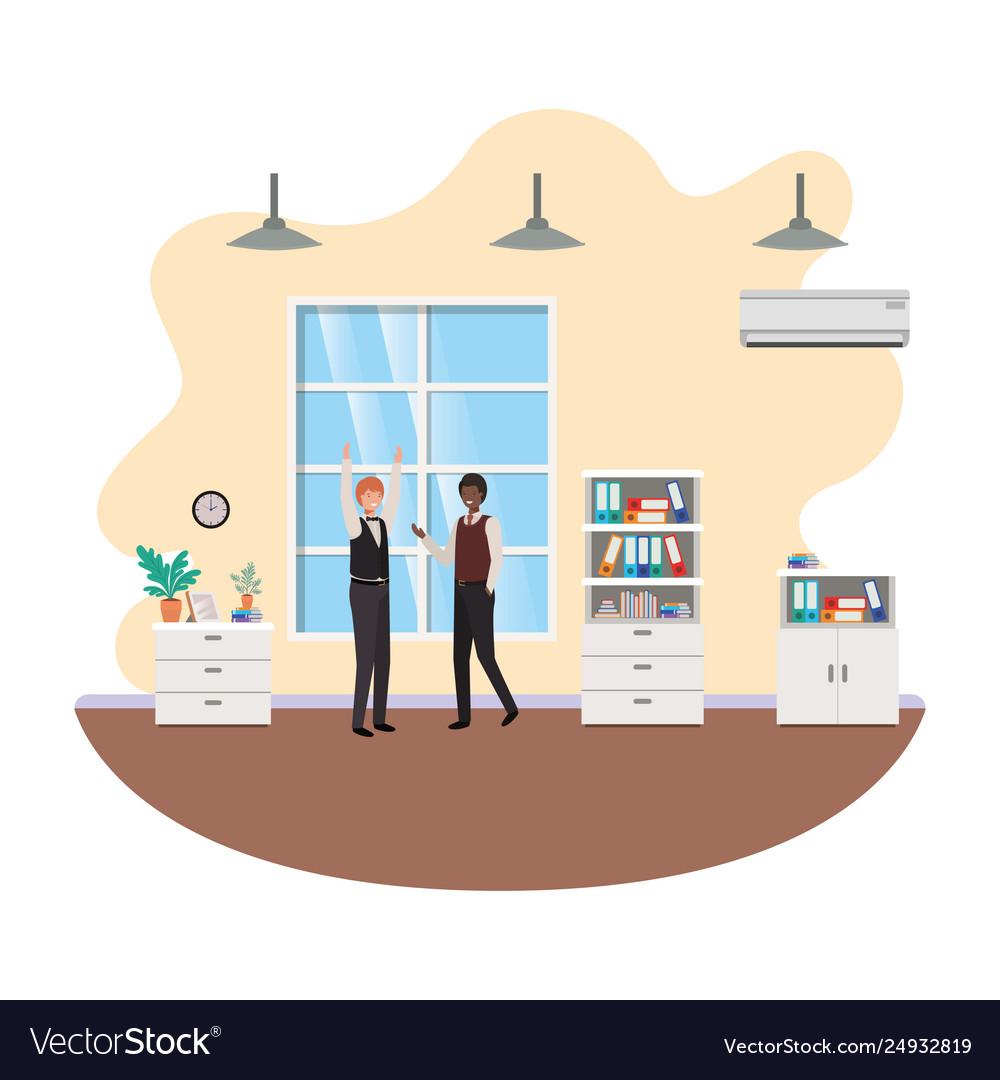 Businessmen in work office avatar character