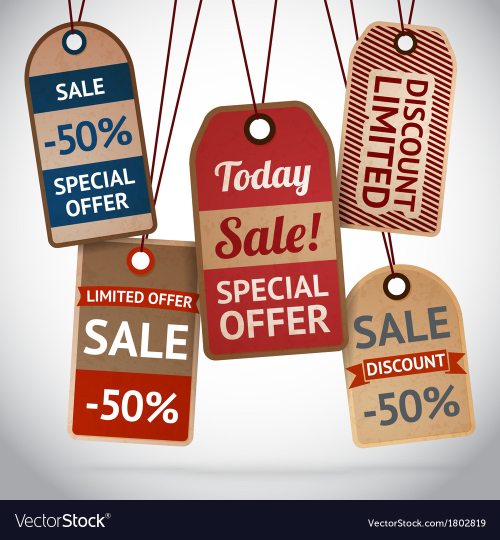 Collection of discount cardboard sale labels