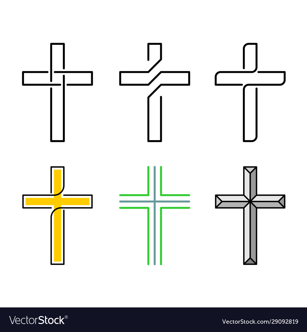 Cristian holy crosses set line style design