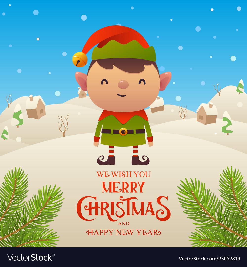 Cute cartoon elf character merry christmas and