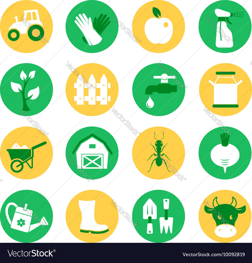 Farm and ranch Gardening icons set