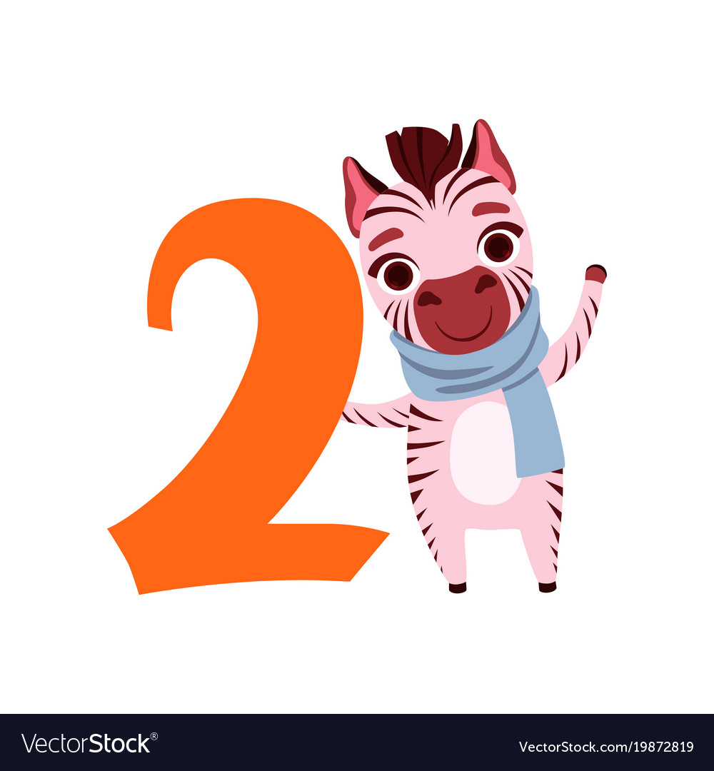 Funny cute zebra animal and number two birthday
