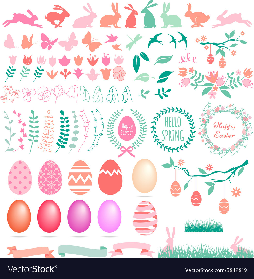 Happy Easter set of design elements
