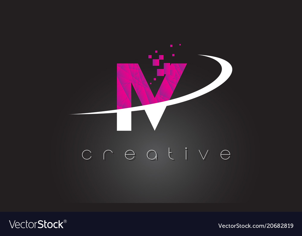 Iv I V Creative Letters Design With White Pink