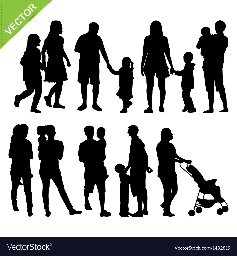 Kids and family silhouette