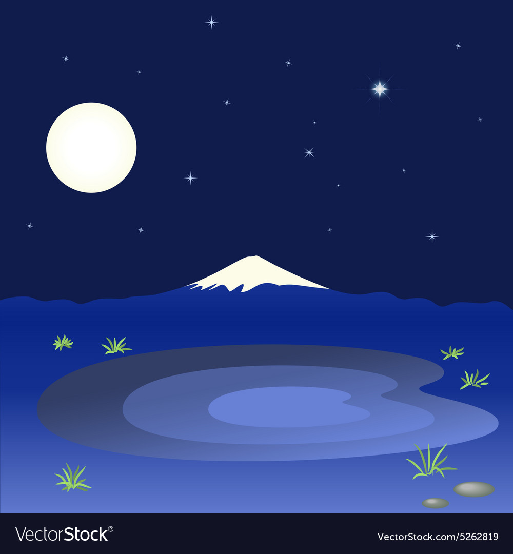 Mountain and lake in the night sky