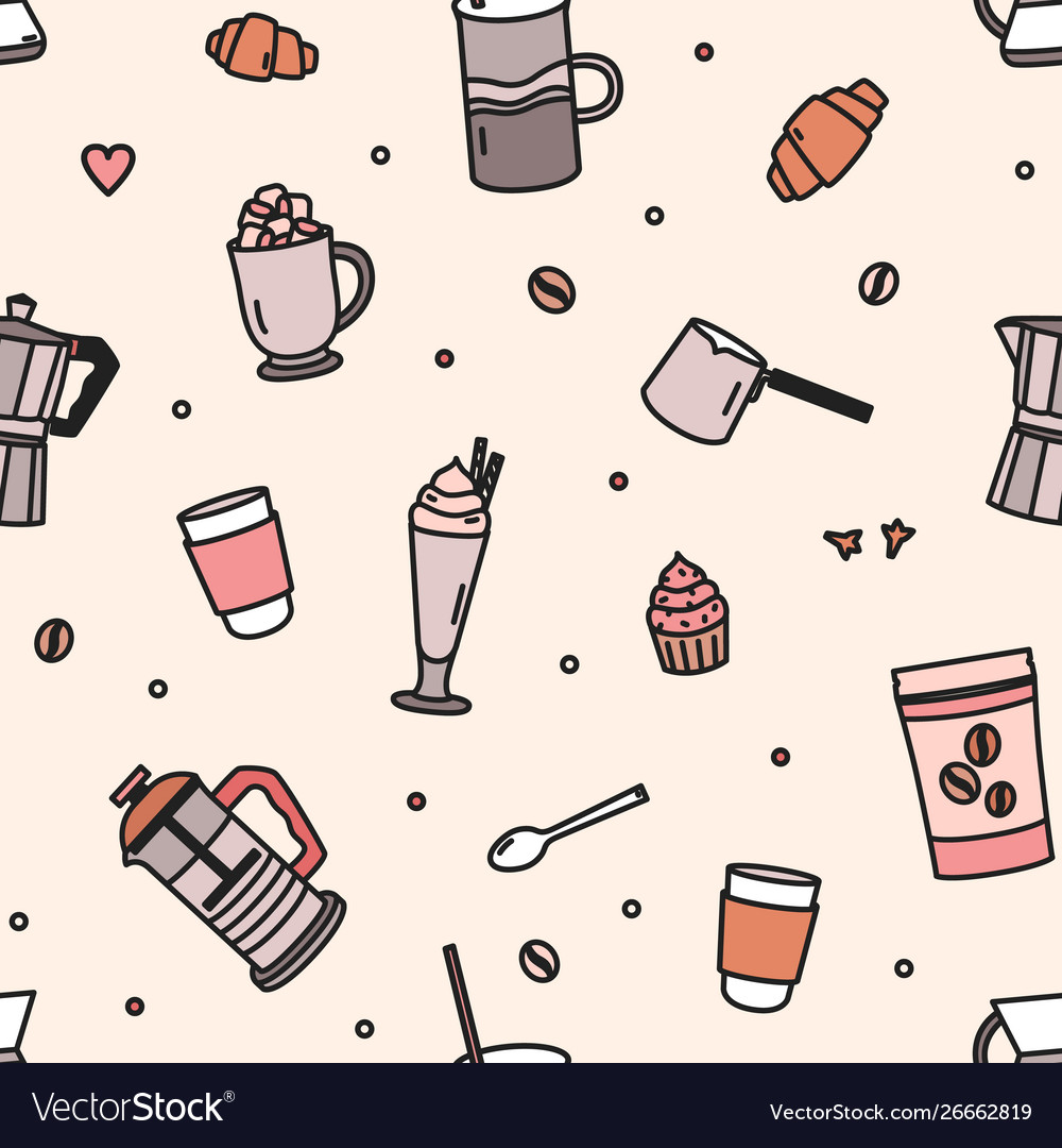 Seamless pattern with pastry milkshake tools and