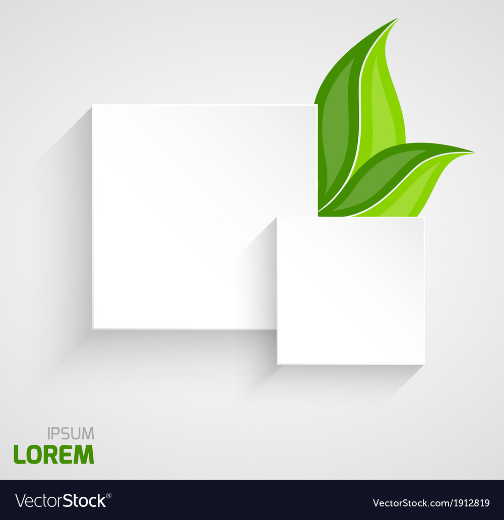 Two paper squares with leaves