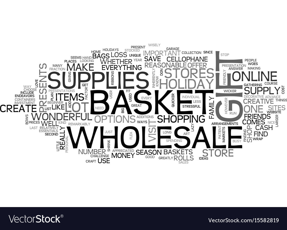 Wholesale gift basket supplies text word cloud