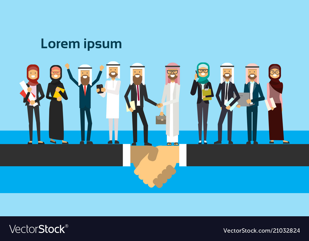 Arabic businessman shaking hands in business and