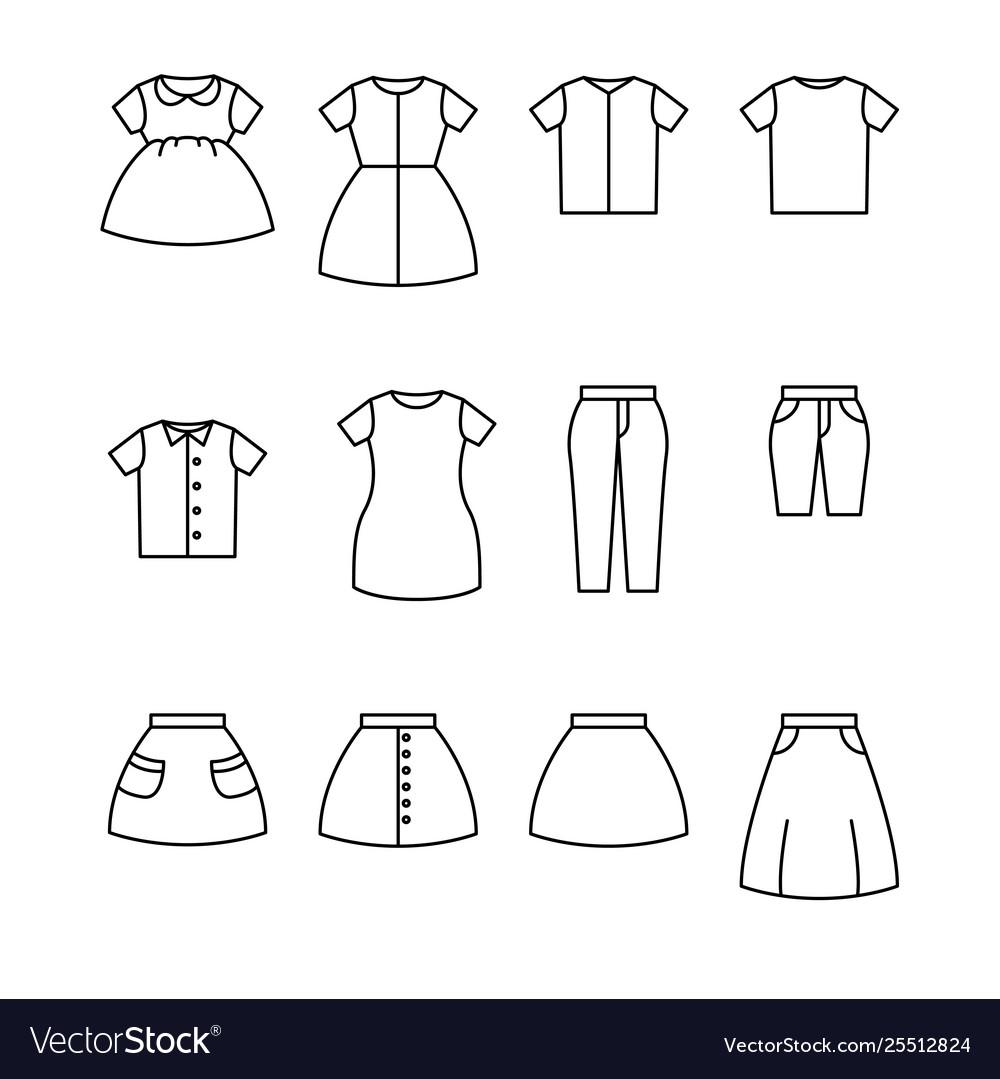 Clothes line icon set apparel outline icon