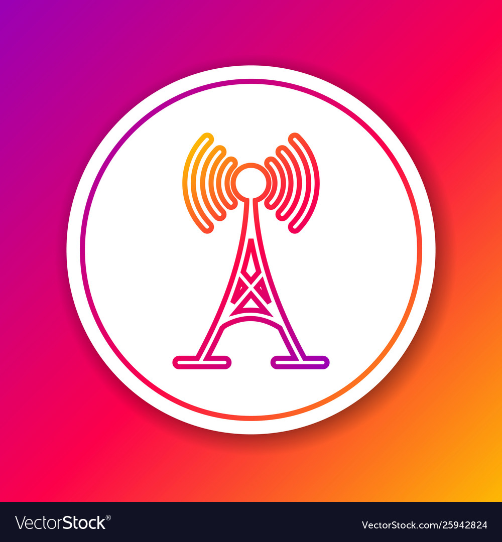 Color antenna line icon isolated on color