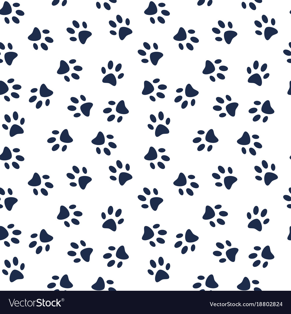 Dog Paw Print Seamless Pattern Royalty Free Vector Image