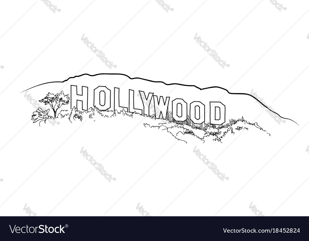 Hollywood sign engraving hollywood hill landscape