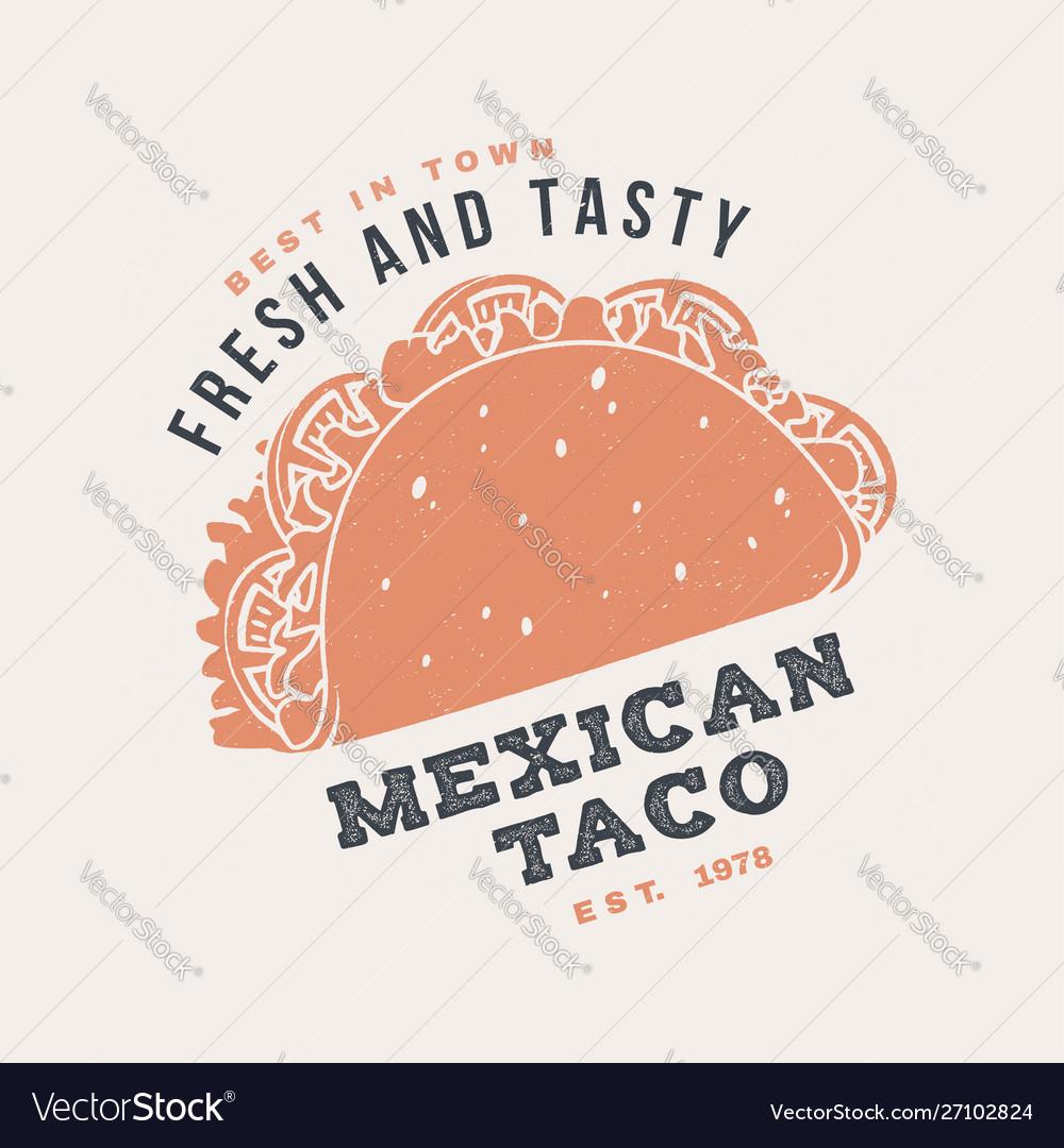 Hot and fresh mexican taco retro badge design