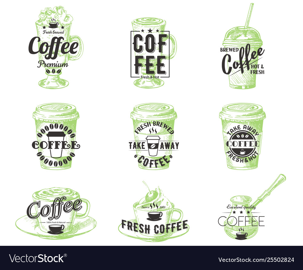 Set vintage coffee badges labels logos