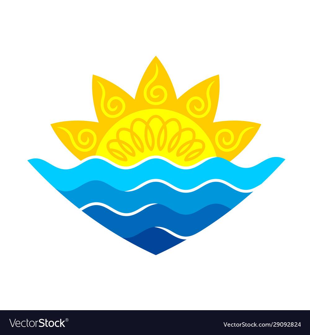 Sun with sea waves stylized logo elegant sunrise