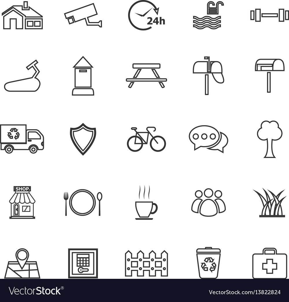 Village line icons on white background