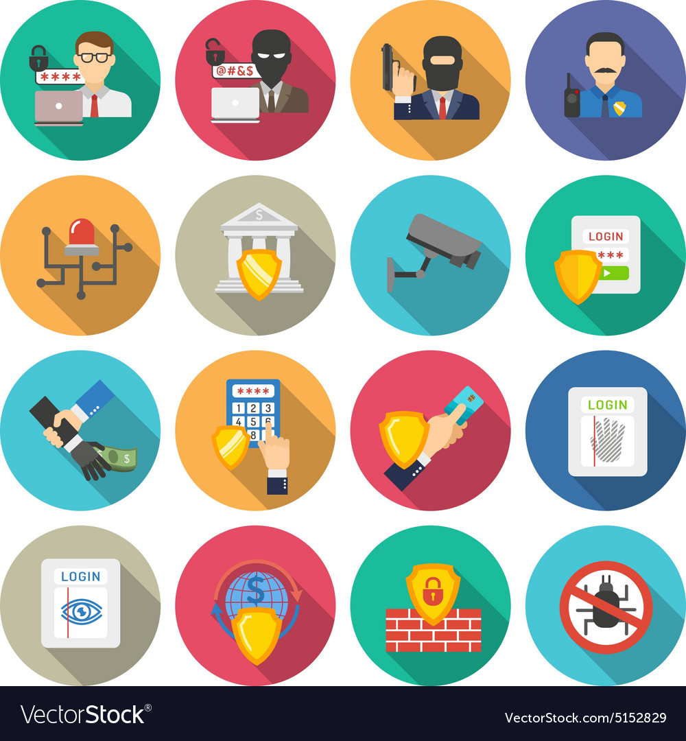 Bank security flat icons set vector image